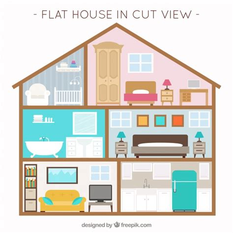 home interior design vector house with interior view and furniture in flat design