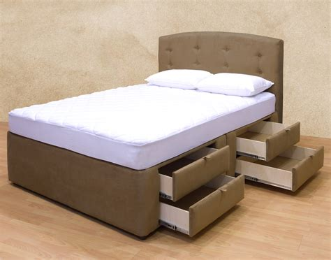 High Bed With Drawers by Brown Velvet Coated Mahogany High Platform Beds With