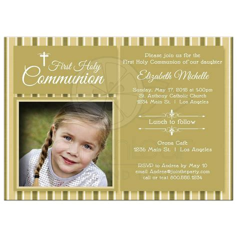 holy communion card templates modern gold striped communion invitation photo template