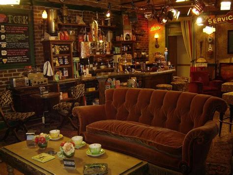 coffee shop couches decorate a room in f r i e n d s style central perk