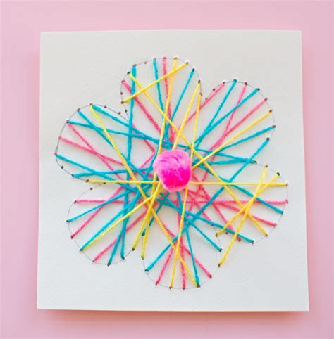 String For Children - hello wonderful kid made diy string flower cards