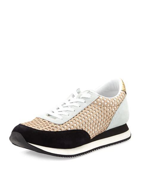loafer randall loeffler randall perforated leather sneaker in beige