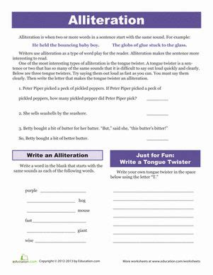 Alliteration Worksheet by Alliteration Tongue Twisters Second Grade Composition