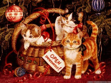 wallpaper cat christmas christmas kittens in basket cats wallpaper 36711831