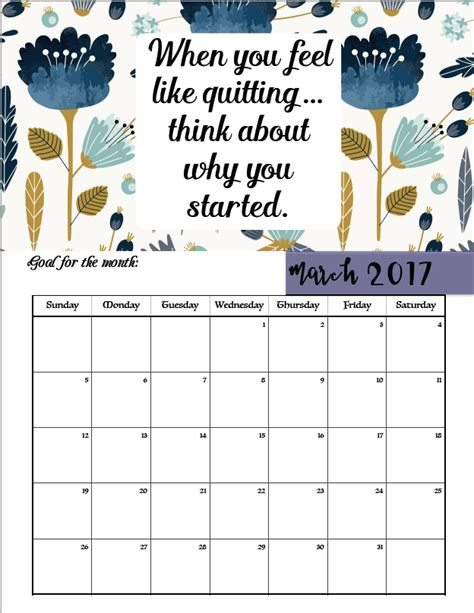 printable quotes calendar free printable 2017 motivational monthly calendar