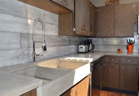 plank form concrete backsplash apron farmer s sink
