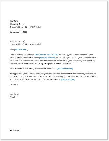 business letter billing error apology letter to customer for billing error word