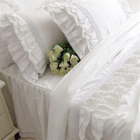 copriletti romantici 4pcs set ruffles white lace bedding set princess