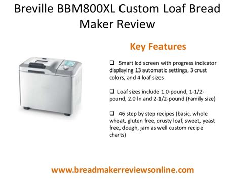 Bakery Maker Indicator Conotec breville bbm800 xl custom loaf bread maker
