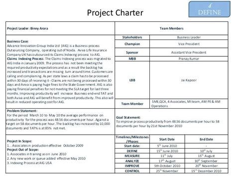 Six Sigma Charter Template Team Charter Exle Six Sigma Project Charter Team Charter Free Green Belt Project Template