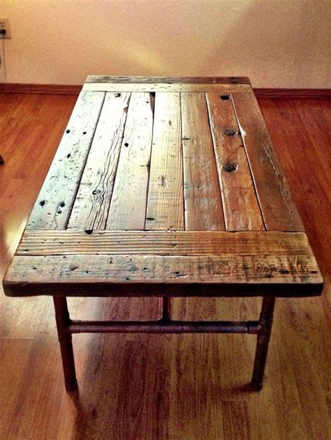 reclaimed wood coffee table with copper legs by