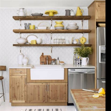 kitchen shelves instead of cabinets farm house kitchen with yellow interiors pinterest