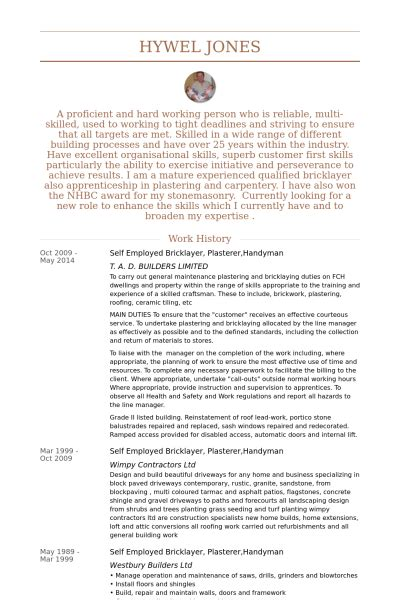 resume exles for handyman resume ixiplay free