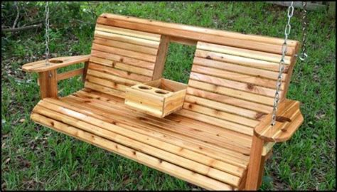 build  wood porch swing  cup holders diy projects