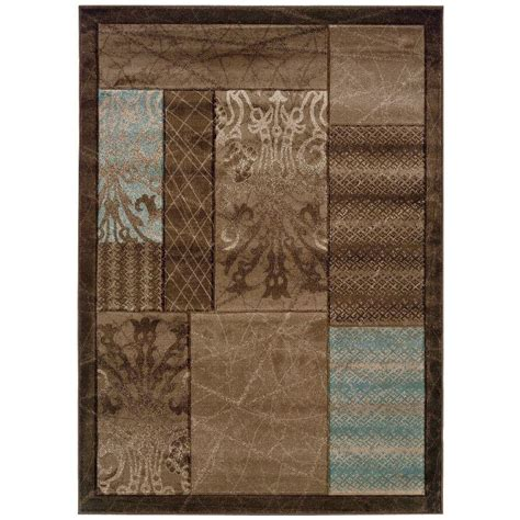 linon home decor rugs linon home decor milan collection brown and aqua 8 ft x