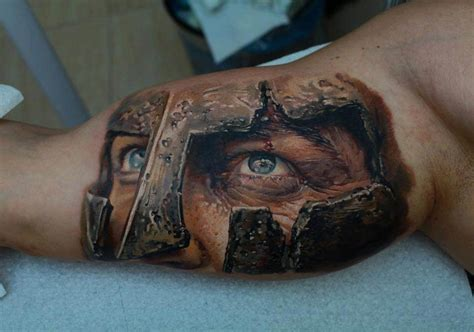 photo realistic tattoo a legionary stares intently in this photo realistic