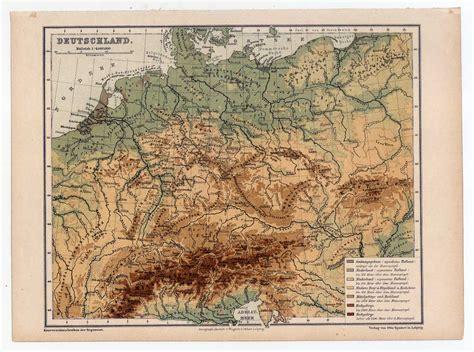 gebirgskarte deutschland deutschland gebirgskarte karte map lithographie 1880