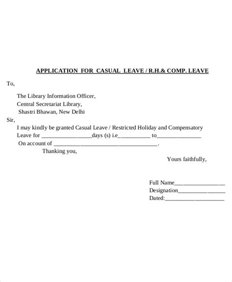 Format Of Application Letter For Casual Leave | 30 application letter templates format free premium