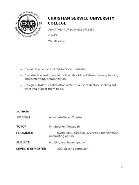 Confirmation Letter Purpose Debtors Circularization Audit Debtor