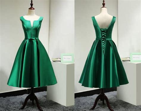modest satin emerald green bridesmaid dress short custom