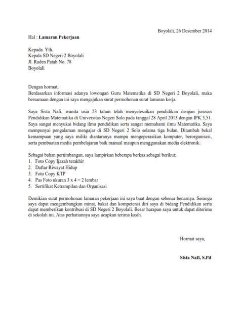 contoh surat lamaran kerja lulusan smp wisata dan info