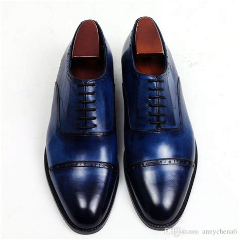 Handmade Shoesdark Blue Oxford Shoes - dress shoes oxford shoes square toe s shoes custom