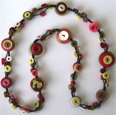 how to make jewelry with buttons button necklace yellow pink and green felt
