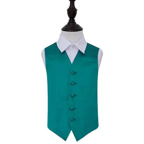Boy's Plain Teal Satin Wedding Waistcoat