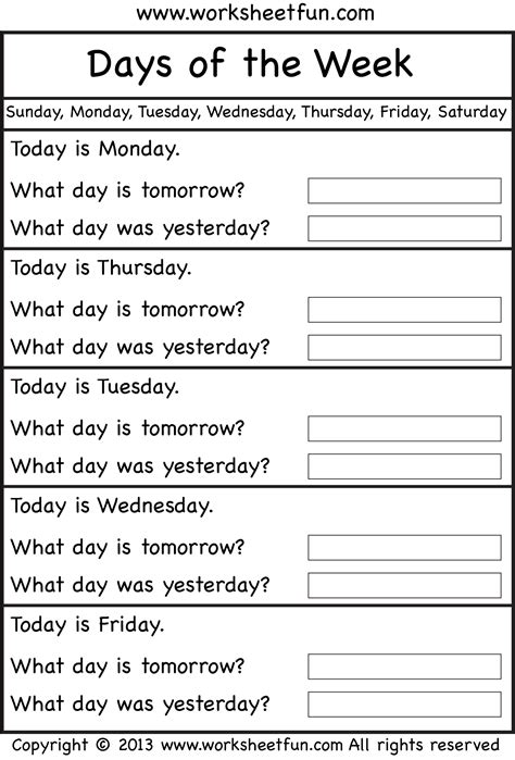 Days Of The Week Worksheet by Days Of Week Worksheets Printable Search Results