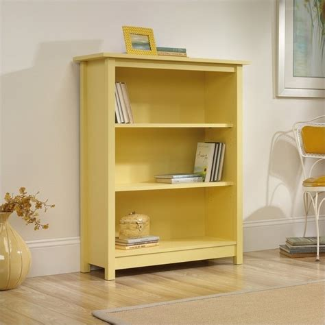 sauder original cottage 3 shelf melon yellow bookcase ebay