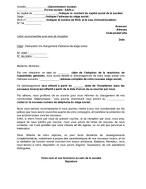 lettre de d 233 claration de changement de si 232 ge social 224 l
