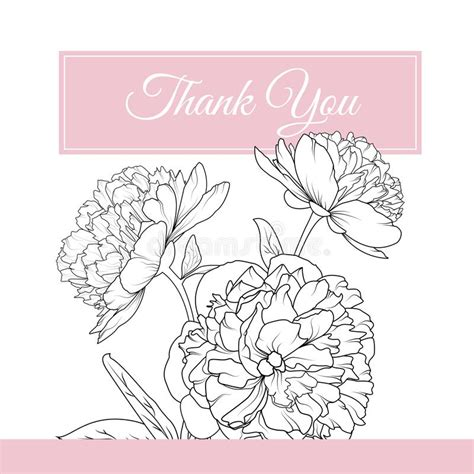 thank you card template flowers peony flowers bouquet thank you card template stock