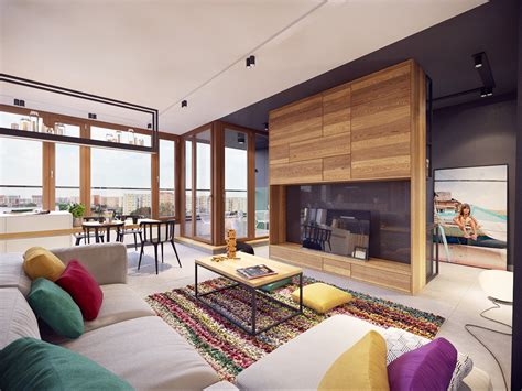 modern home interior decorating colorful modern apartment design uses space to beautiful effect