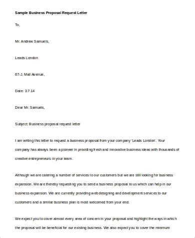 sample proposal request letter templates ms