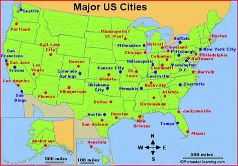 Us Map With Important Cities | map of united states with major cities thefreebiedepot