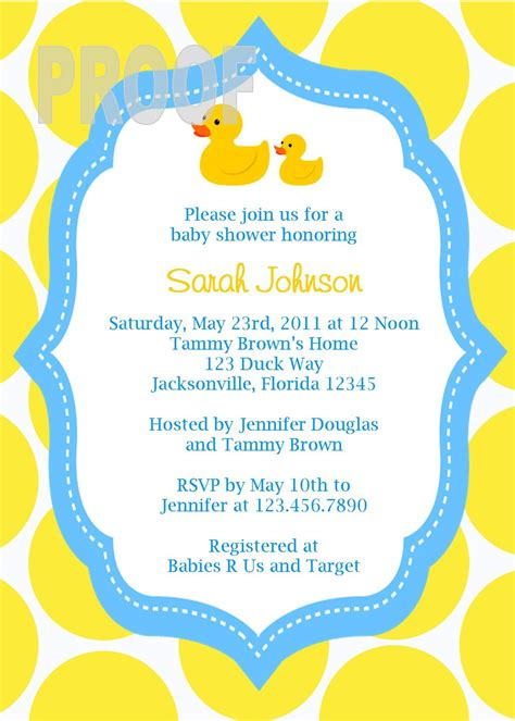 duck baby shower invitation templates adorable rubber ducky custom baby shower invitation