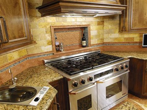 Kitchen Backsplash Niche Country Kitchen With A Marble Island And Fireplace
