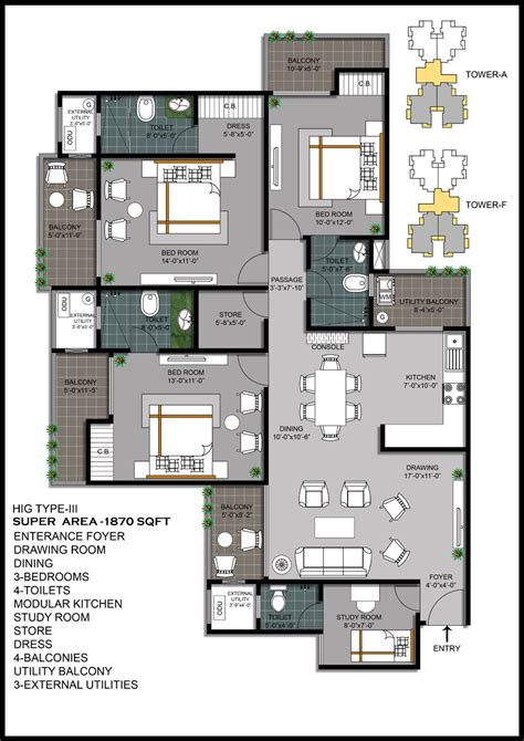 hawelia valenova park floor plan 3bhk study room 1870 sqr ft projects noida extension