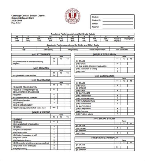 statement card template student progress report template doliquid