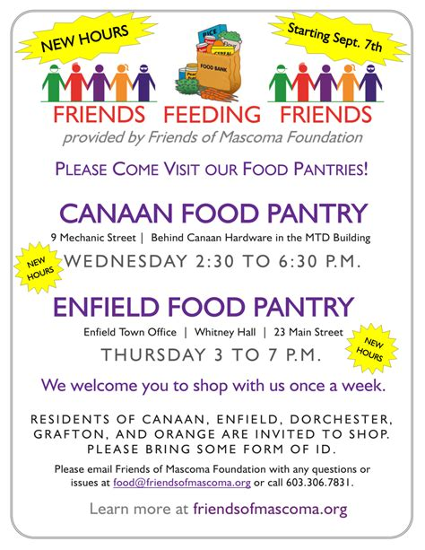 Food Pantry Hours by New Food Pantry Hours In Canaan Enfield Friends Of