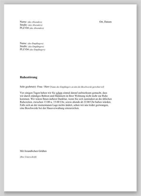 Muster Schreiben Beschwerde Beschwerde Wegen L 228 Rms In Der Nachbarwohnung