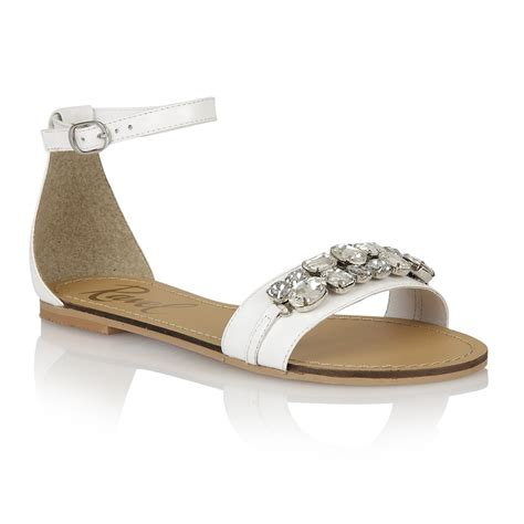 Sandal White ravel tulsa jewelled flat sandals white leather