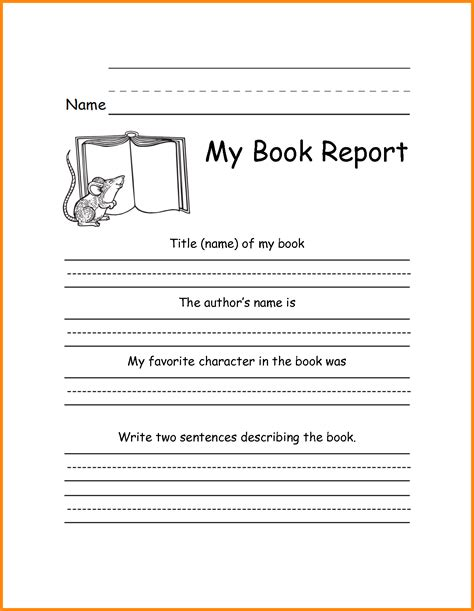 picture book report kindergarten book review template image collections