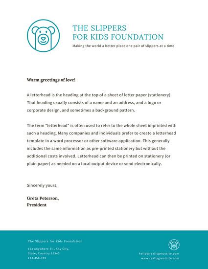 letterhead for charity letterhead templates canva