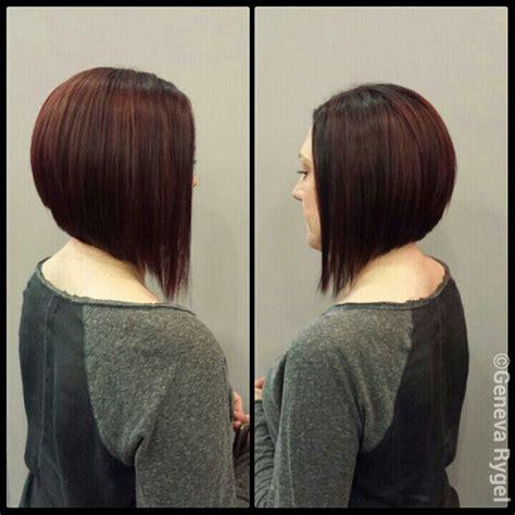 a line bob vs inverted bob red violet haircolor graduated bob long bob inverted bob
