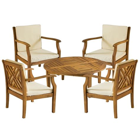 Teak Type 5pc Chippendale Conversation Set With Cushions Teak Wood Patio Furniture Set