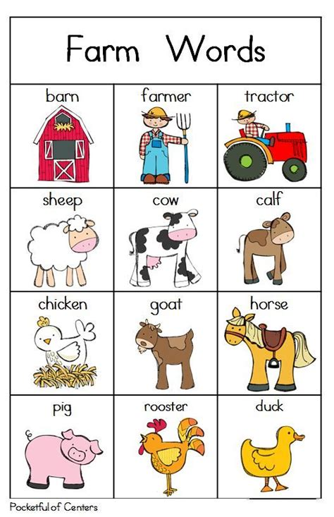 printable toddler words 11 best images about animals farm on pinterest farm