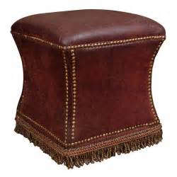 vintage distressed leather ottoman with nailhead detailing