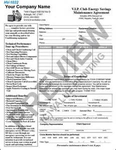 Hvac Service Contract Template by Hvac Service Contract Template Free Printable Documents