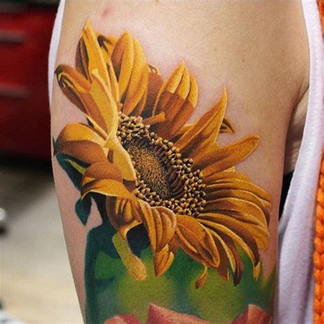 25 beautiful realistic sunflower tattoos